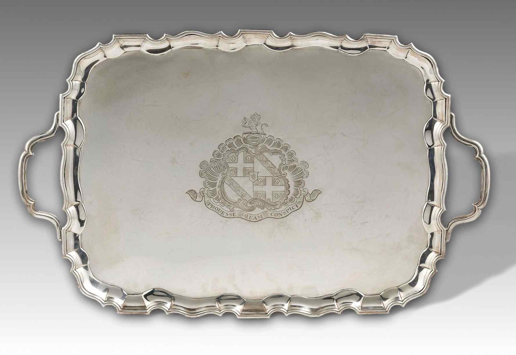 Vassoio in argento 925/°°°, Inghilterra- Londra, 1779