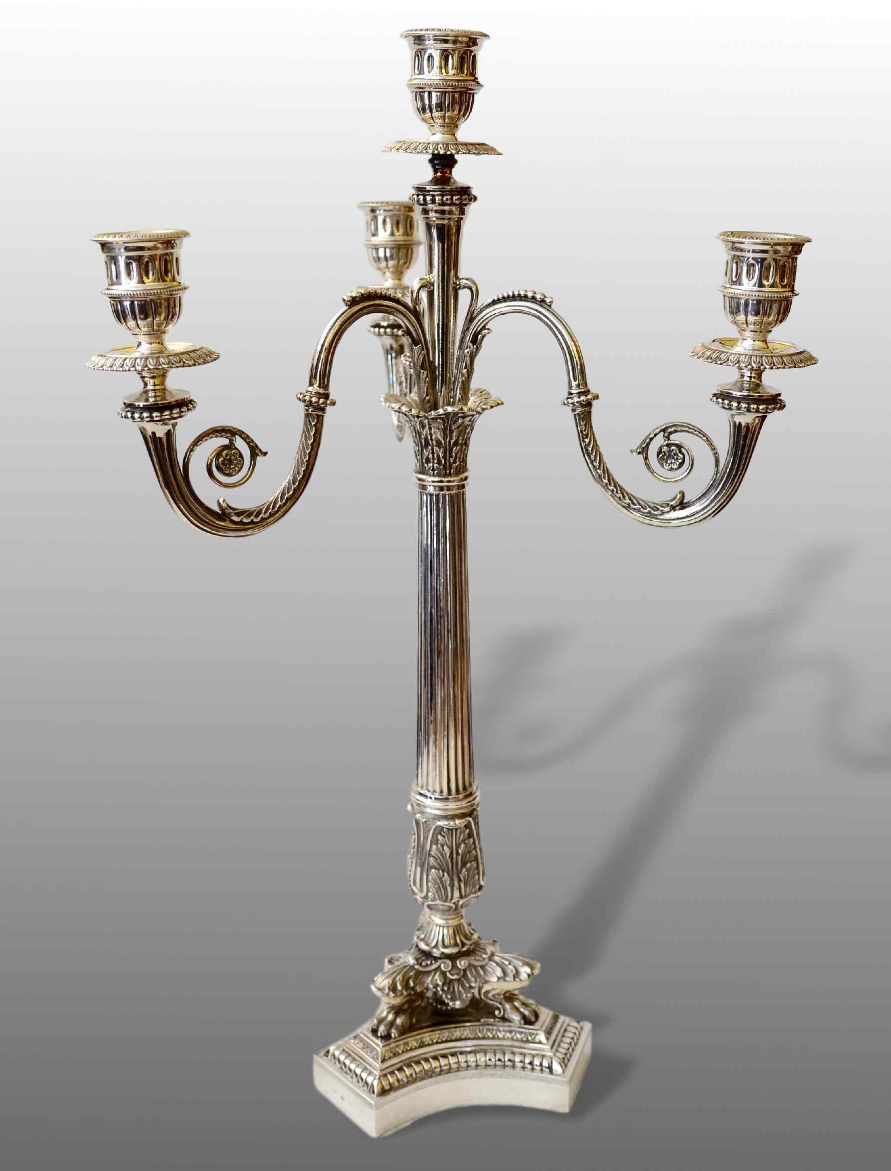 Candelabro in stile impero argento 925 milano for Design in stile romano