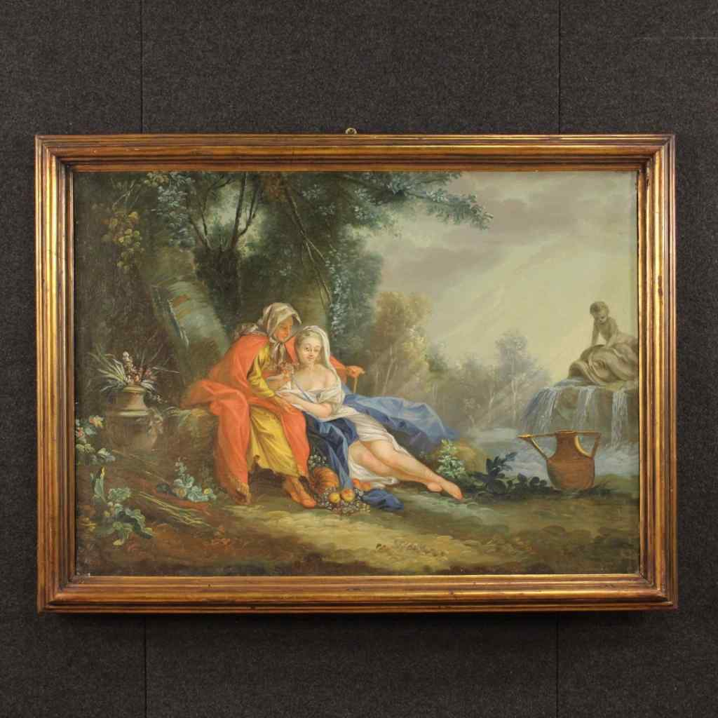 Antique French landscape painting and characters 18 century