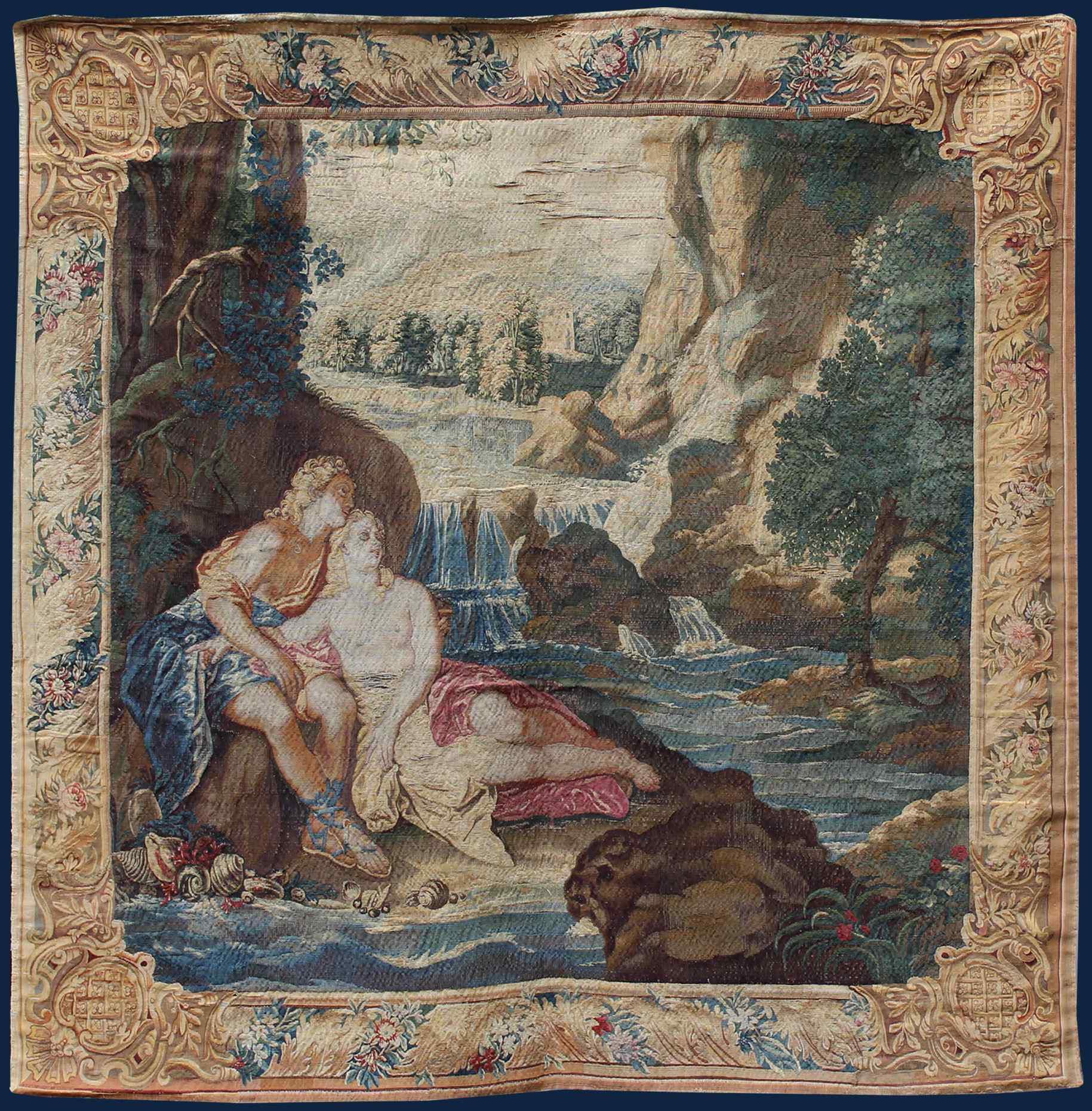 Francia, Fine XVII secolo Venere e Adone al bagno, Seta
