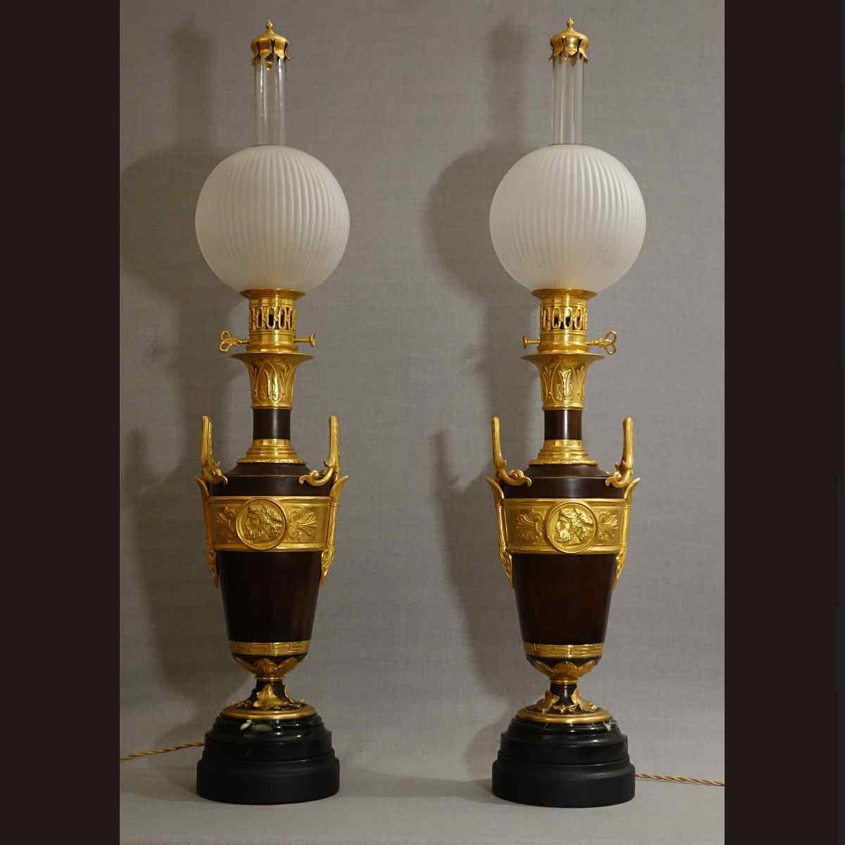 Pair of Large Lamps XIXth