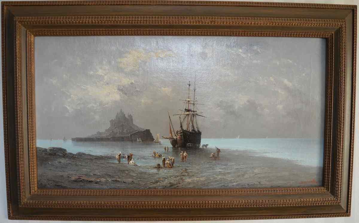 Henri Van Wyk, Fishermen In The Bay Of Mont-Saint-Michel. X