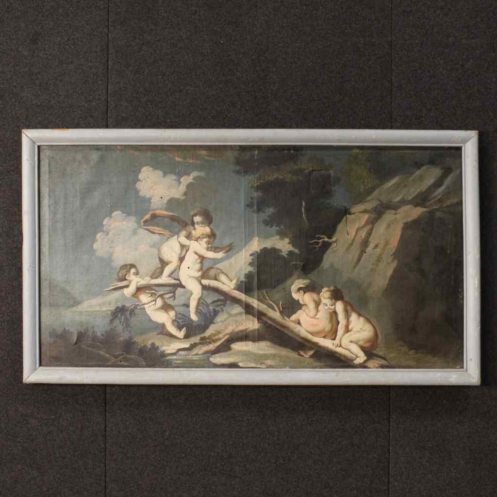 Antico dipinto italiano paesaggio con gioco di putti del XVI