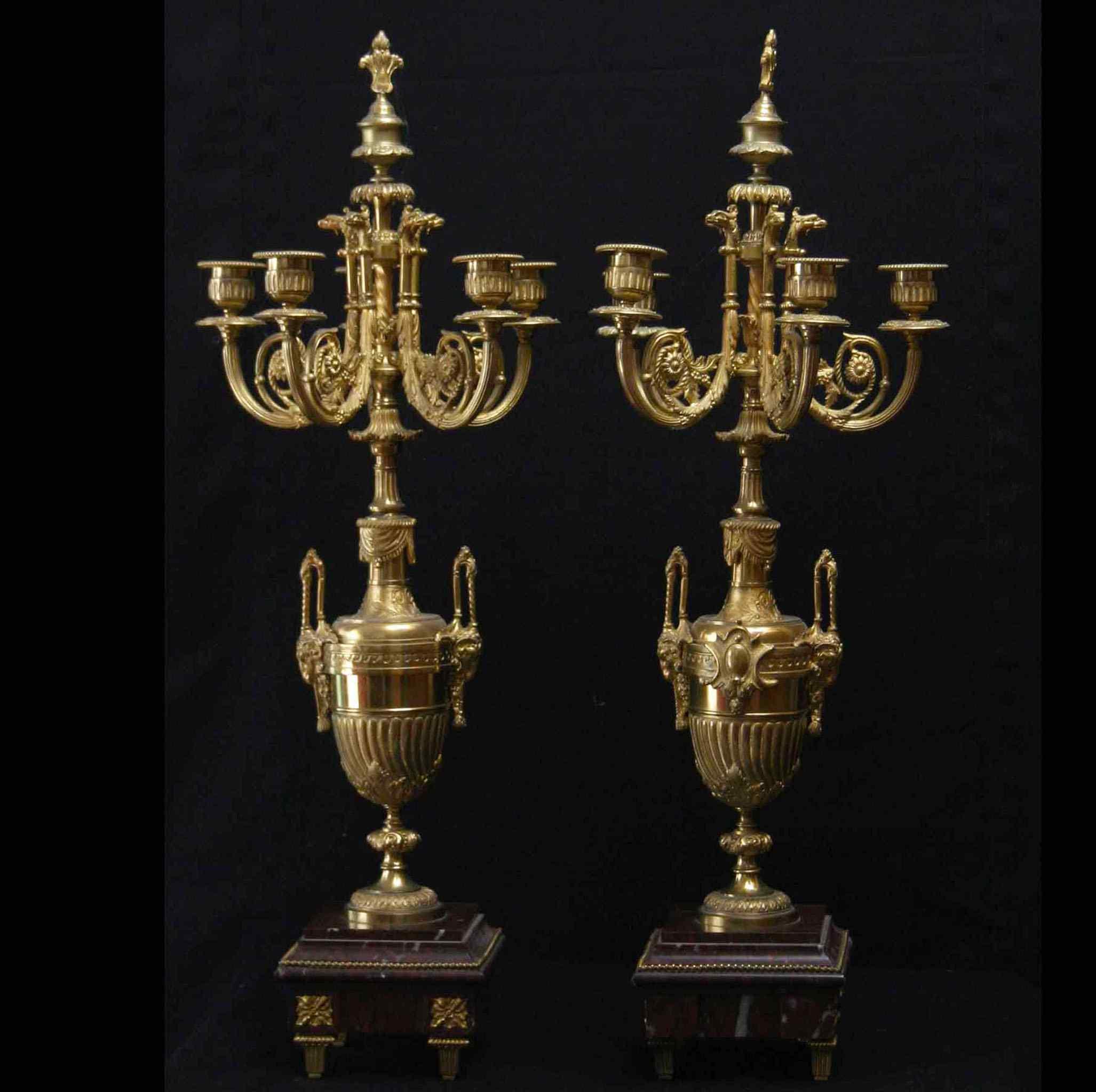 Coppia di candelabri in bronzo dorato, Napoleone III