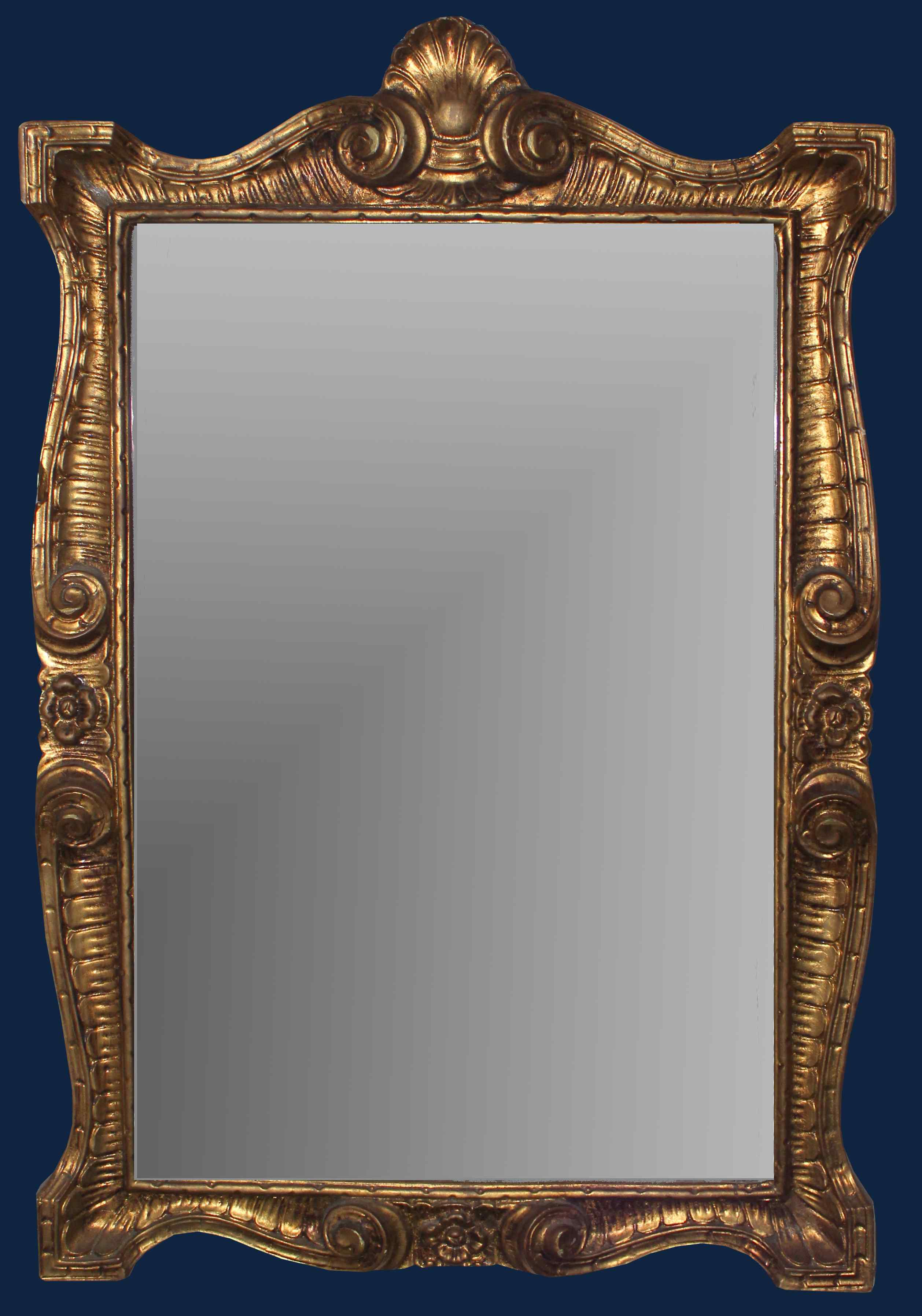 Nineteenth century, Mirror, wood carved and gilded