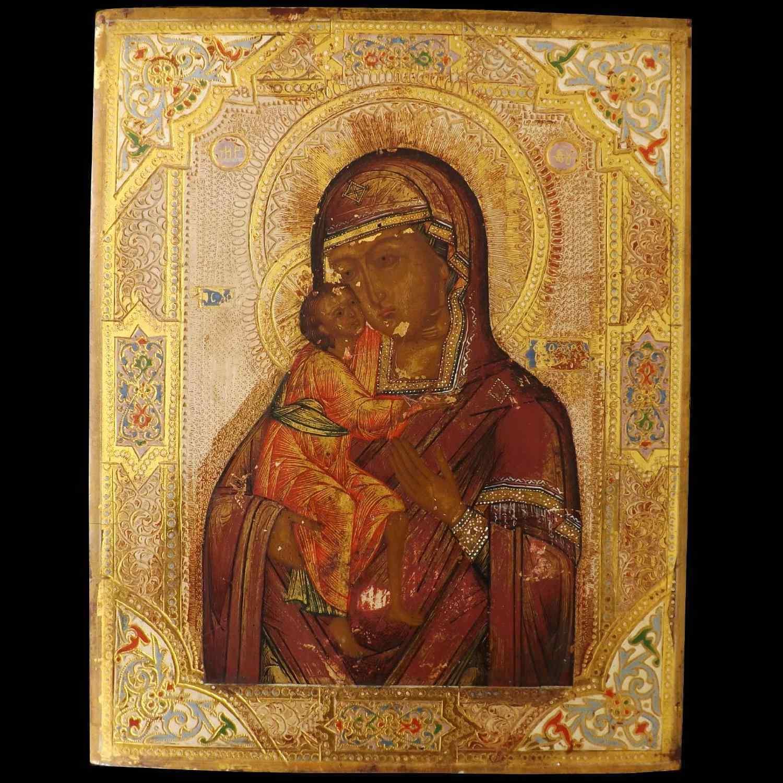 Icona Russa fondo XIX secolo, Madonna con Bambino