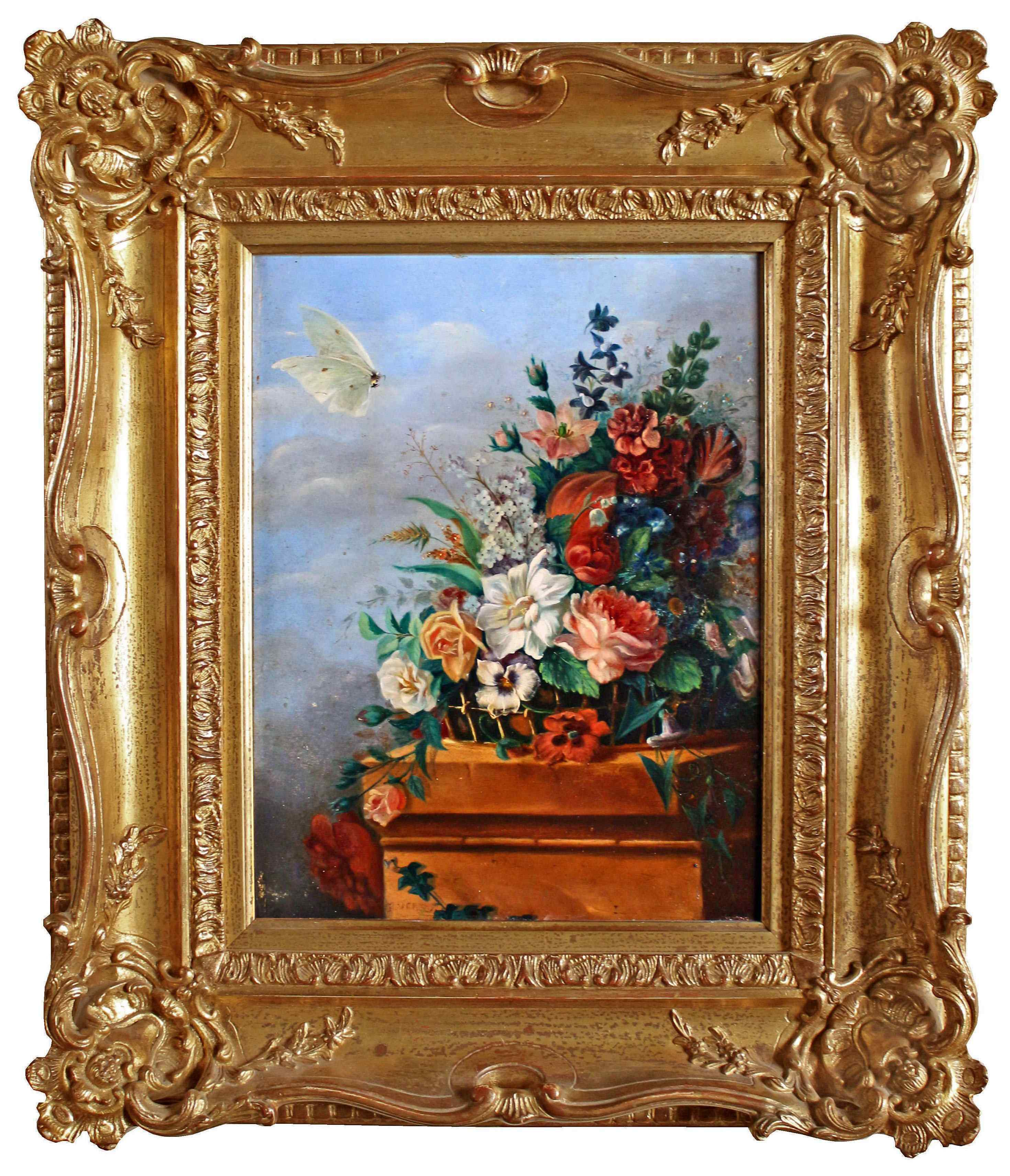 Antico quadro con fiori, firmato