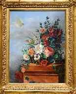 Antico quadro con fiori, firmato-3
