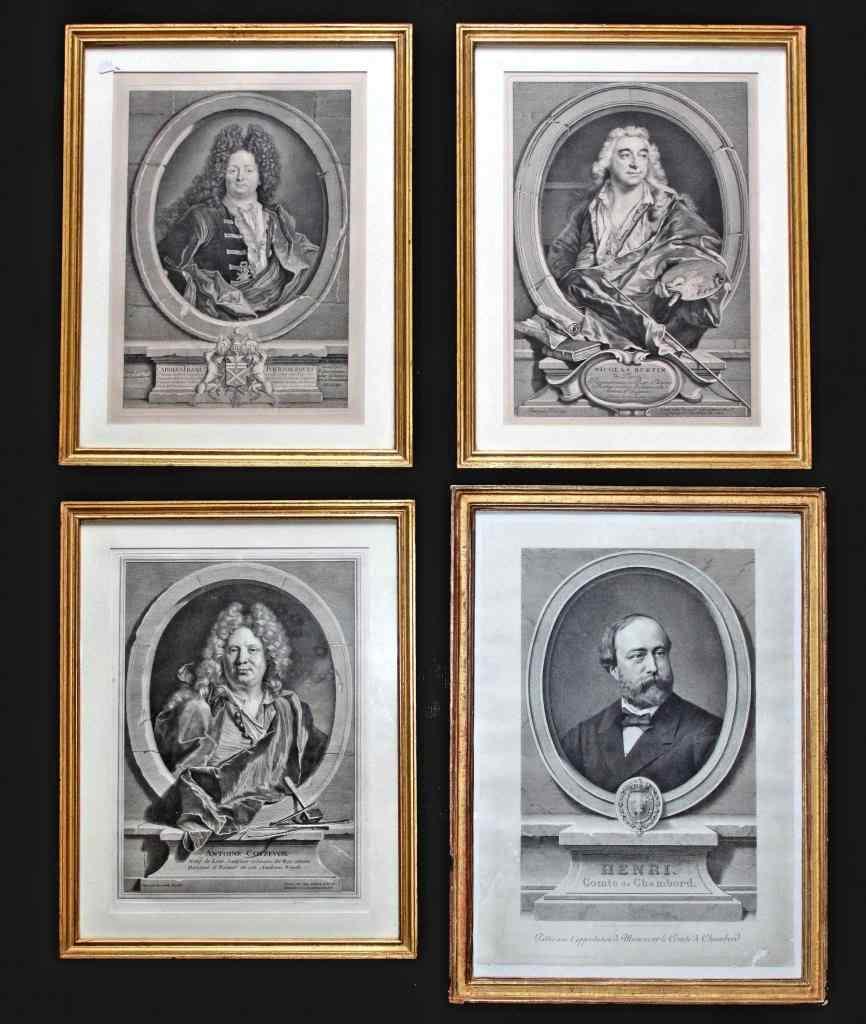 Serie di quattro incisioni del '700, ritratti
