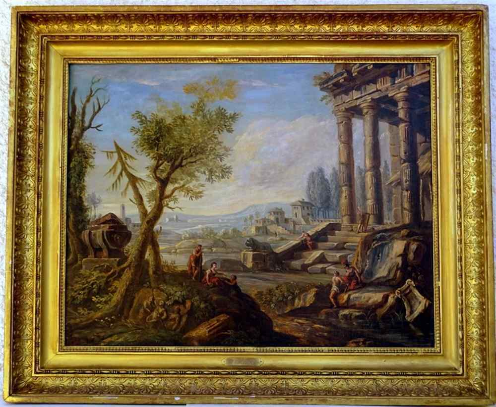 Jb Lallemand Ruins & Figures In A Landscape Of The Camp