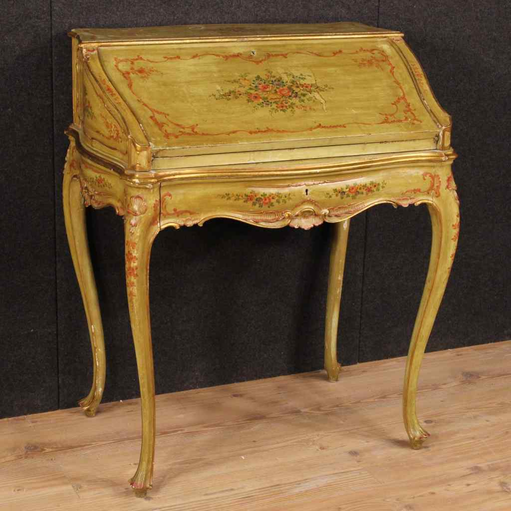 Venetian lacquered, gilded and painted bureau