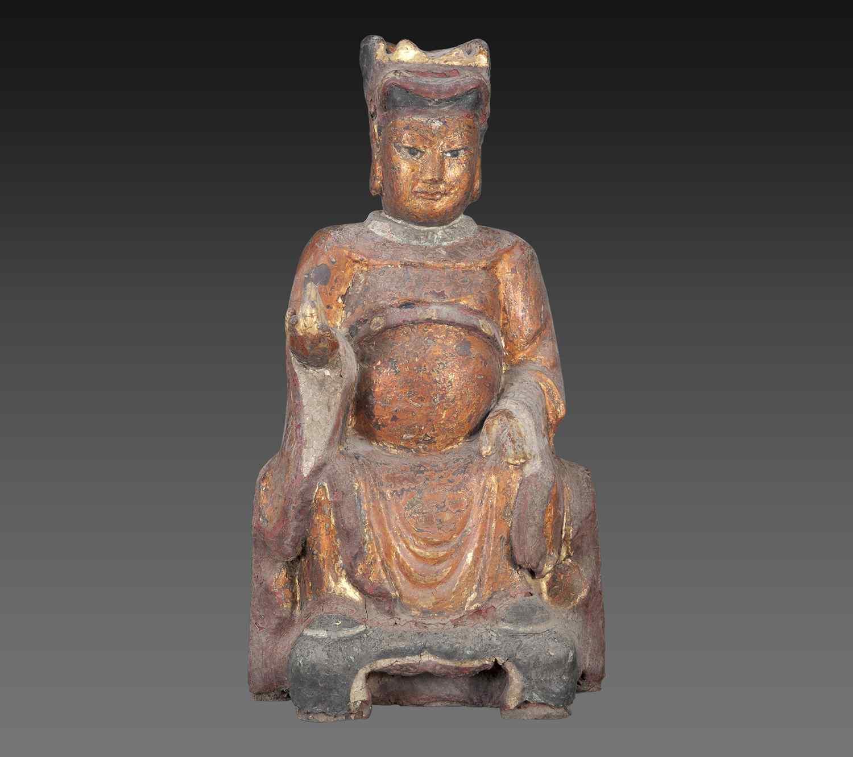 Scultura in legno - Divinità Taoista Dinastia Qing.