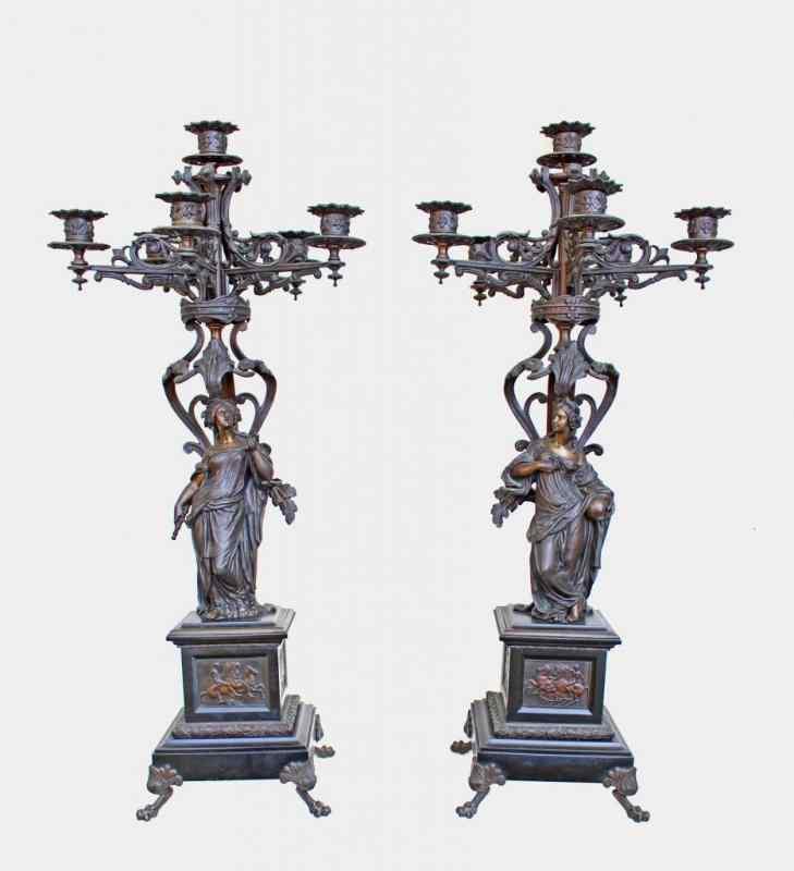 Coppia di grandi candelabri in bronzo, Napoleone III