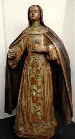 Antique important Statue of St. seventeenth Carved wood-5