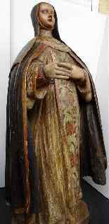 Antique important Statue of St. seventeenth Carved wood-10