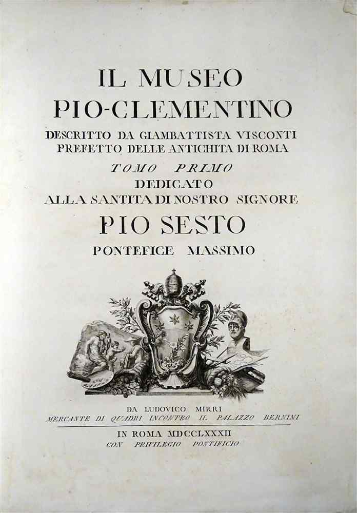 Edition Originale Grand In -Folio 1782 Musée PIO CLEMENTINO