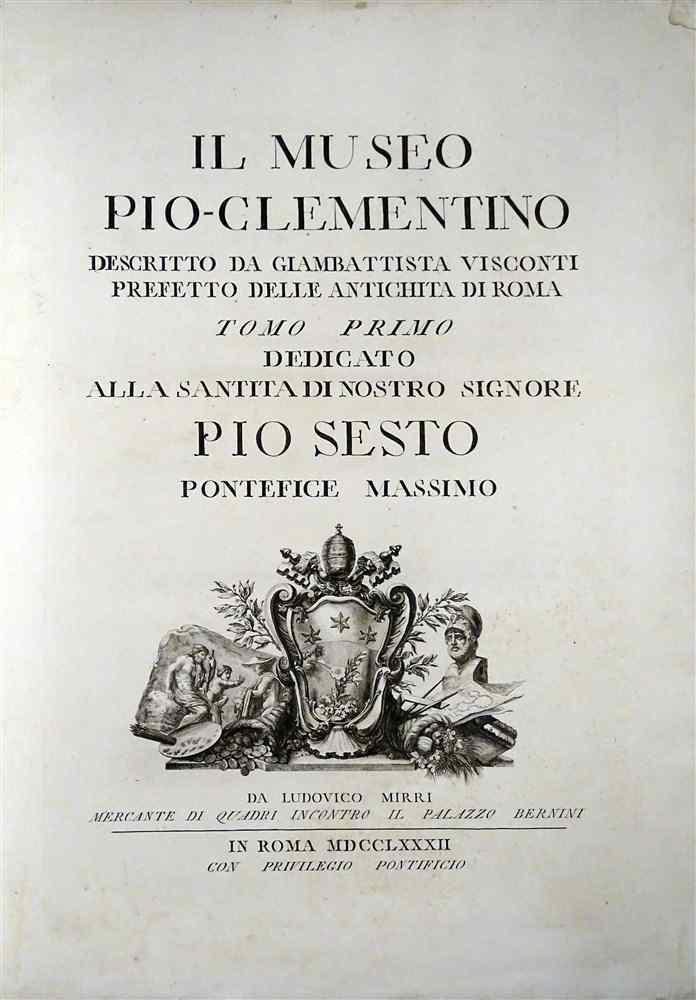 Prima edizione Gran -Folio Nel 1782 Museo Pio Clementino