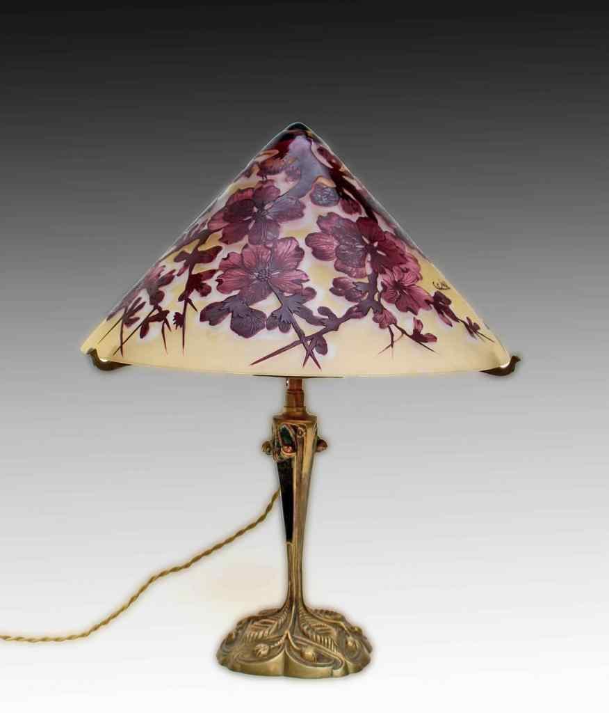 Emile Gallé & LELEU, lampada Art Nouveau
