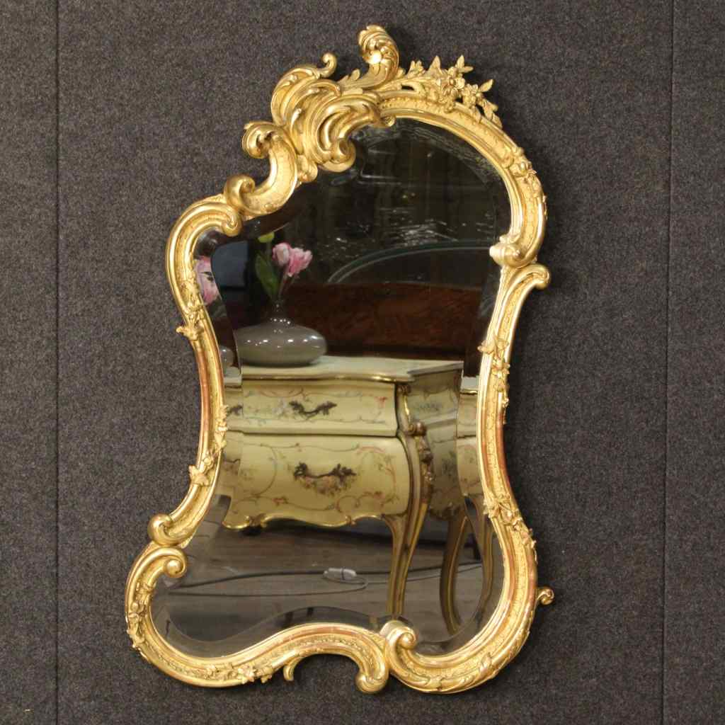 Французский позолоченной зеркало из дерева и гипса девятнадцатого века