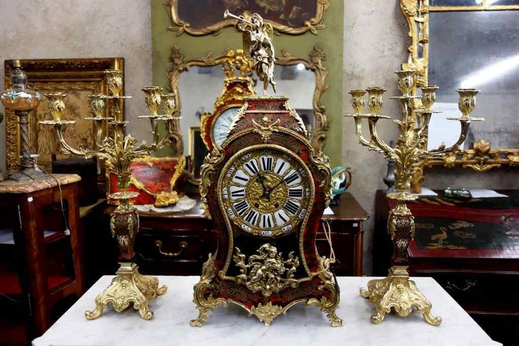 Trittico con orologio francese, fine dell'800