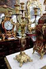 Trittico con orologio francese, fine dell'800-4