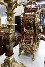 Trittico con orologio francese, fine dell'800-6