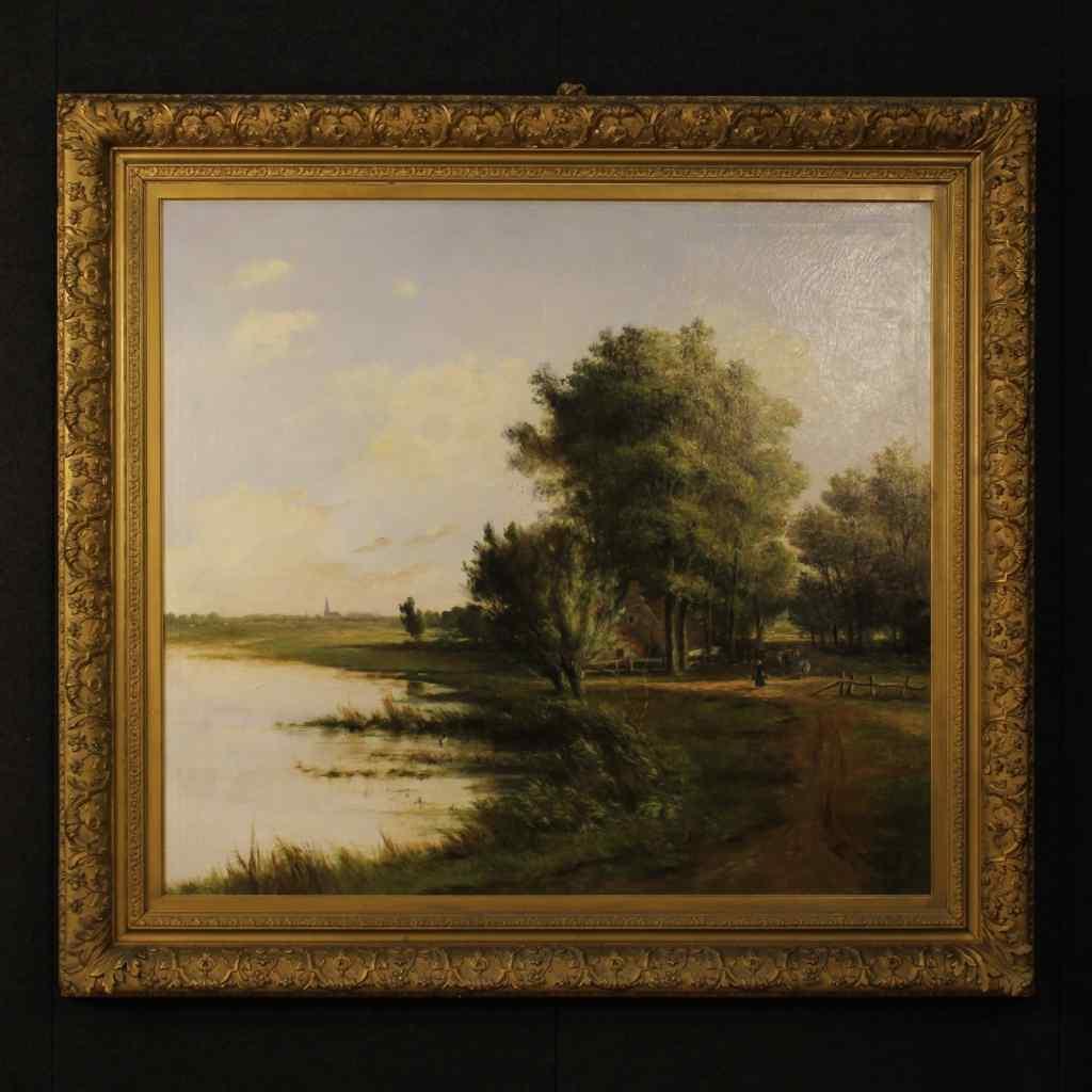 Grande dipinto fiammingo raffigurante paesaggio XIX secolo