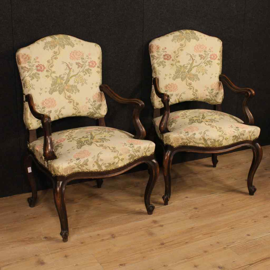 Pair of Italian armchairs upholstered in floral fabric