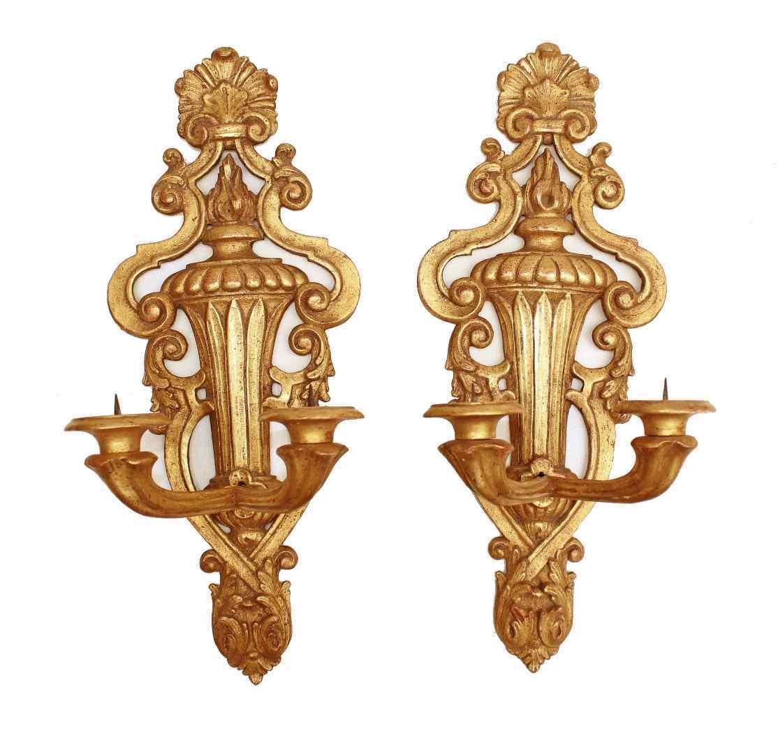 Coppia di applique in legno dorato dell'800