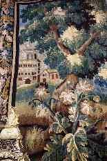 Grande arazzo Aubusson - Verde con trampolieri, XVIII-2