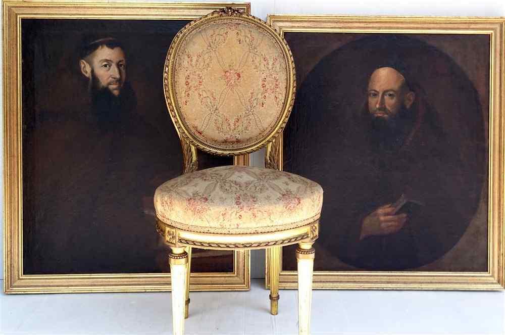 Cercle De Zurbaran Pair Of Portraits From 17th Benedictine