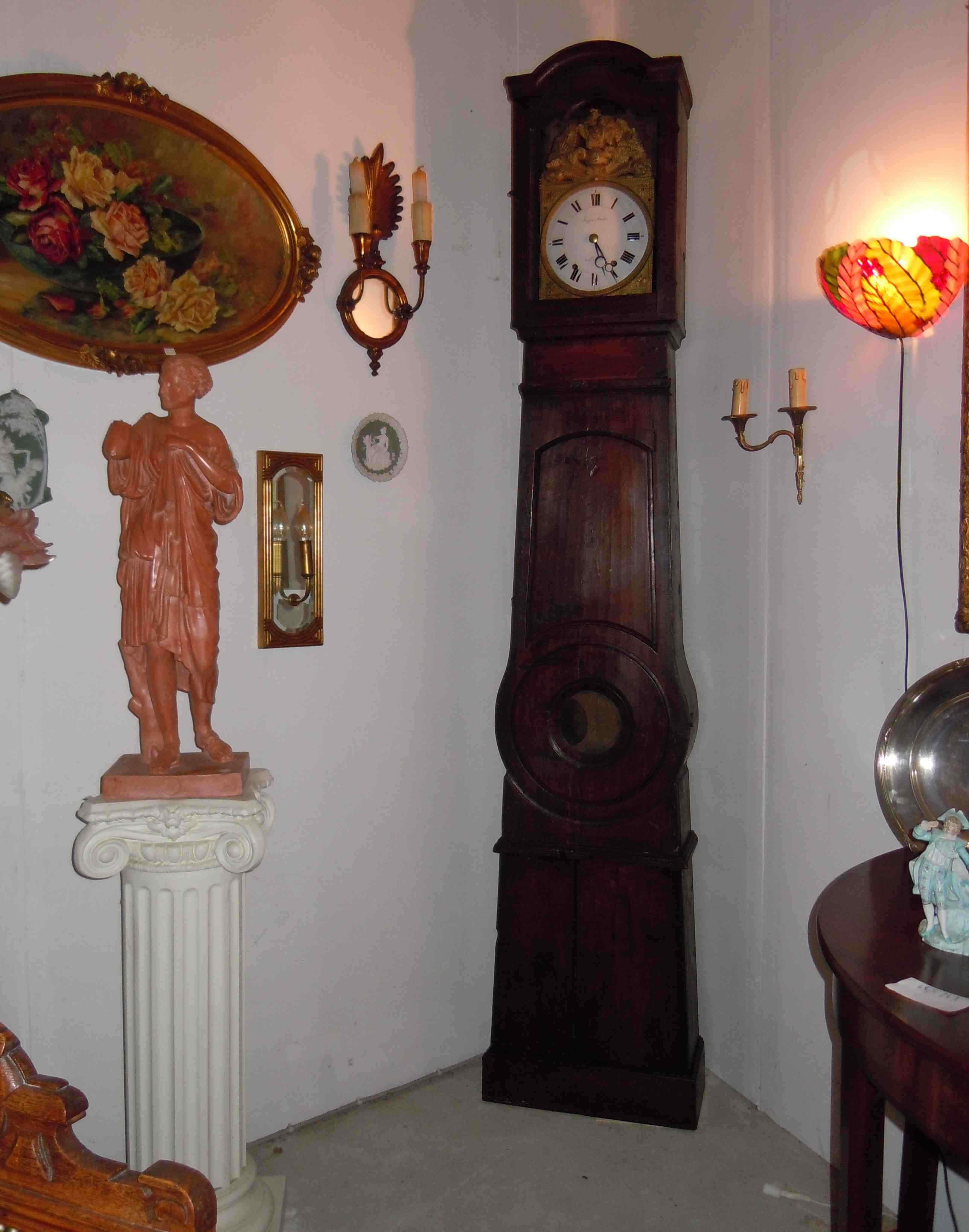 Orologio a colonna francese, firmato Poitou del '700