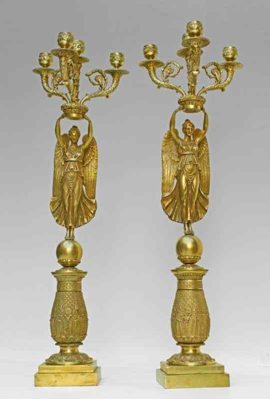 Coppia di candelabri, vittorie alate, Impero francese