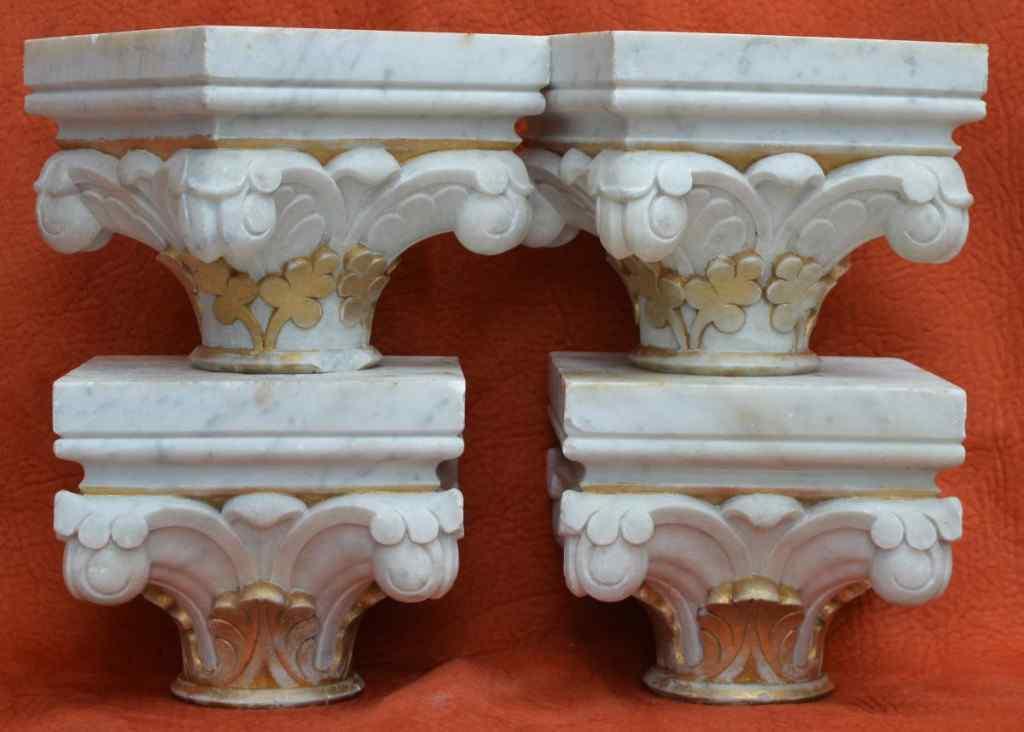 Capitelli antichi scolpiti in marmo - XIX° secolo