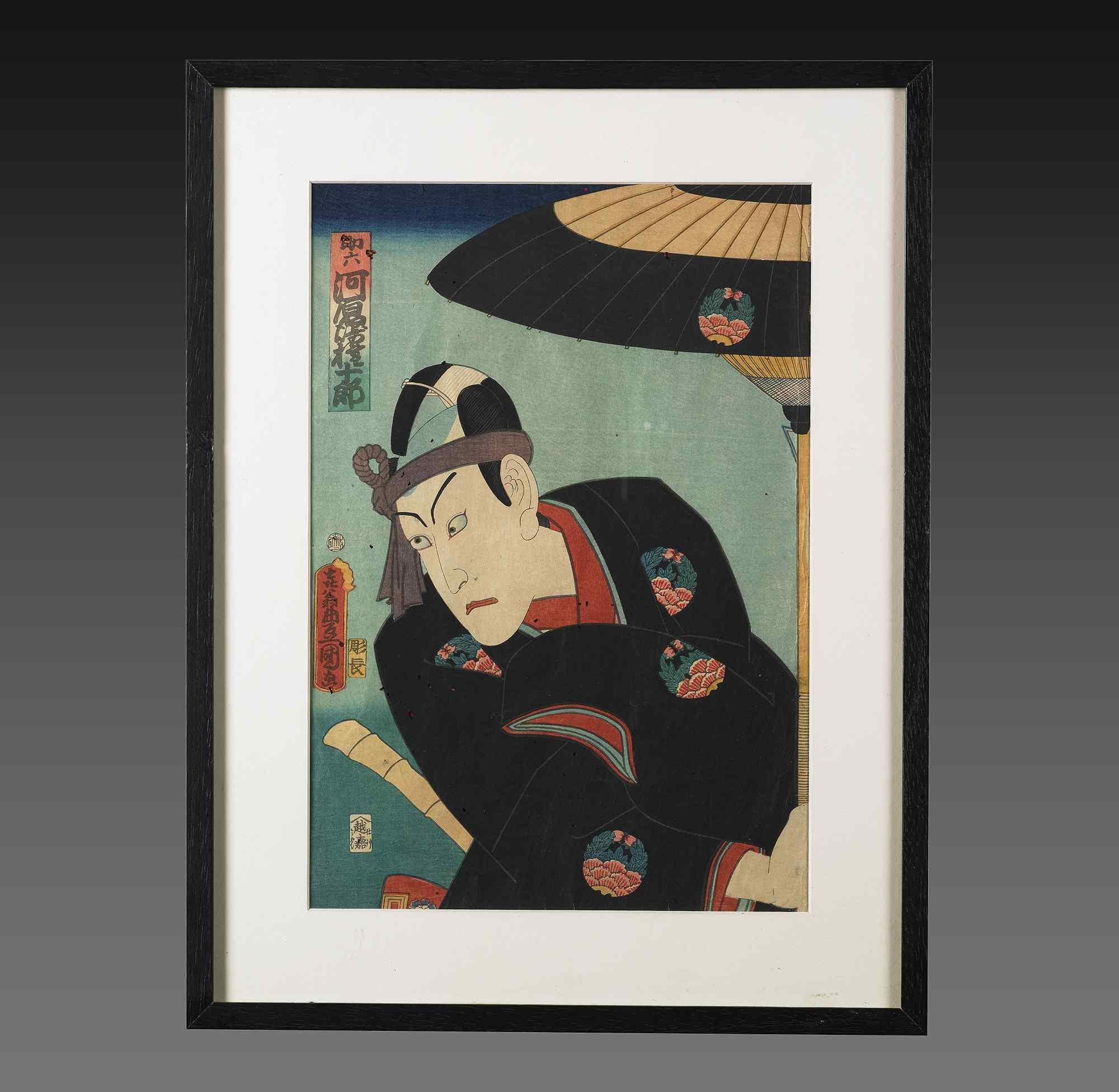 Samurai, stampa Ukyo-e, scuola Utagawa; Periodo Edo XIX sec.