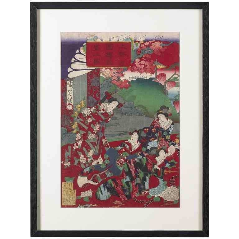 Wood block print, stampa di Toyohara Chikanobu Giappone