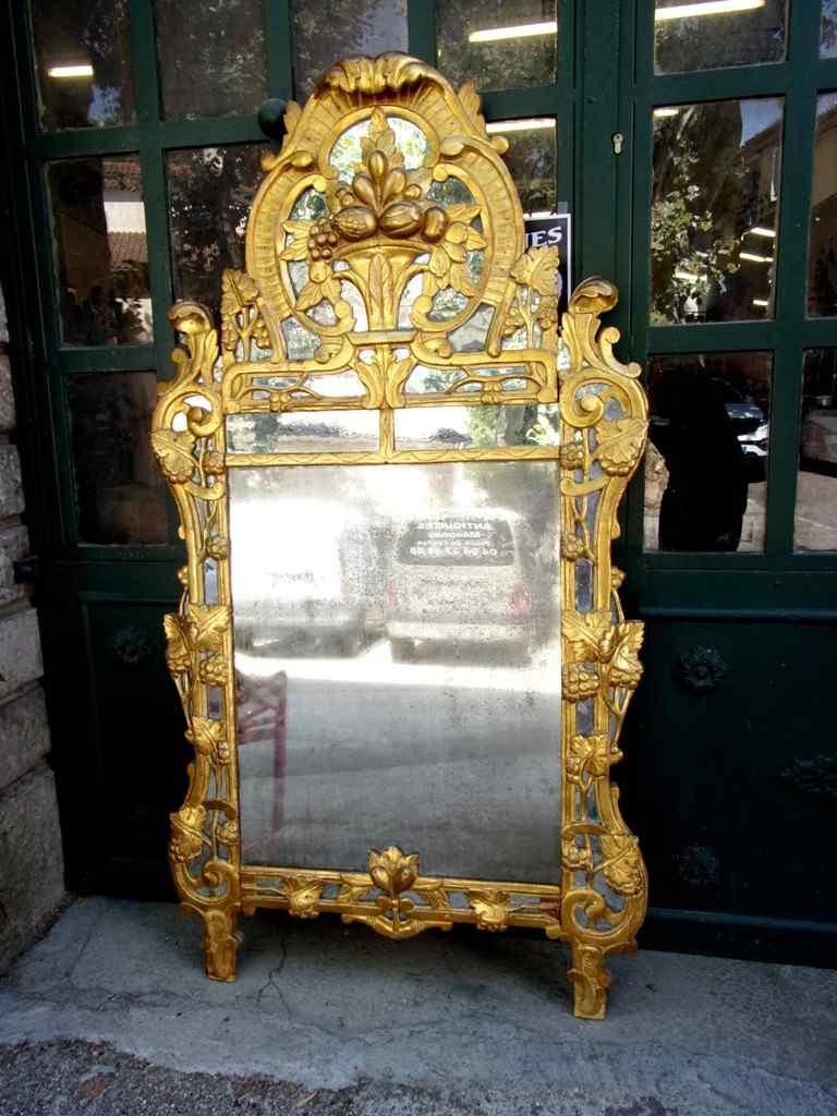 Grande specchio provenzale Beaucaire visiera chiusa, legno d