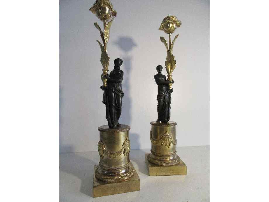 Coppia di candelieri in bronzo periodo Impero