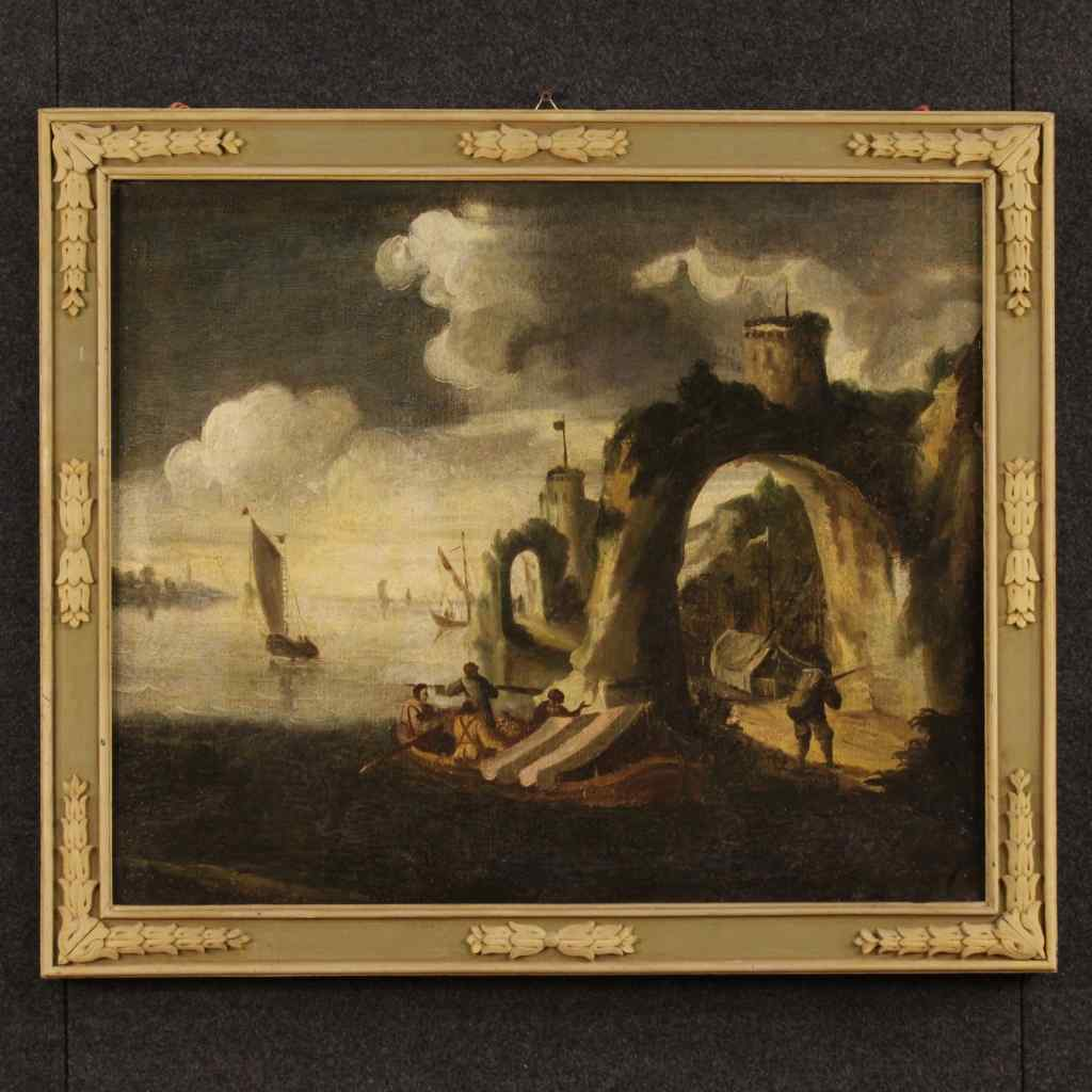 Antico dipinto italiano marina con barche e pescatori