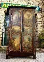 Raro armadietto antico e laccato francese del '700-11