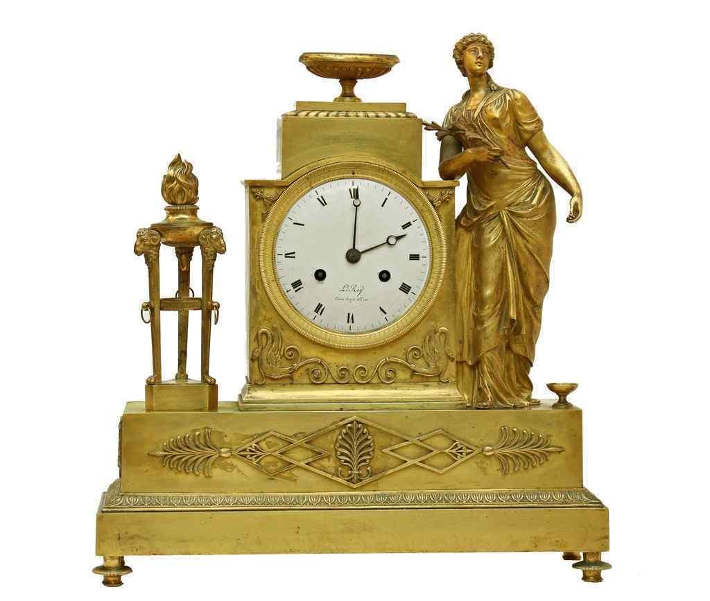 Pendolo 1° impero bronzo dorato firmato LEROY a Parigi