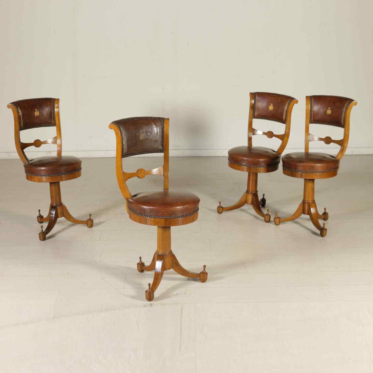 Gruppo di quattro sedie di epoca impero