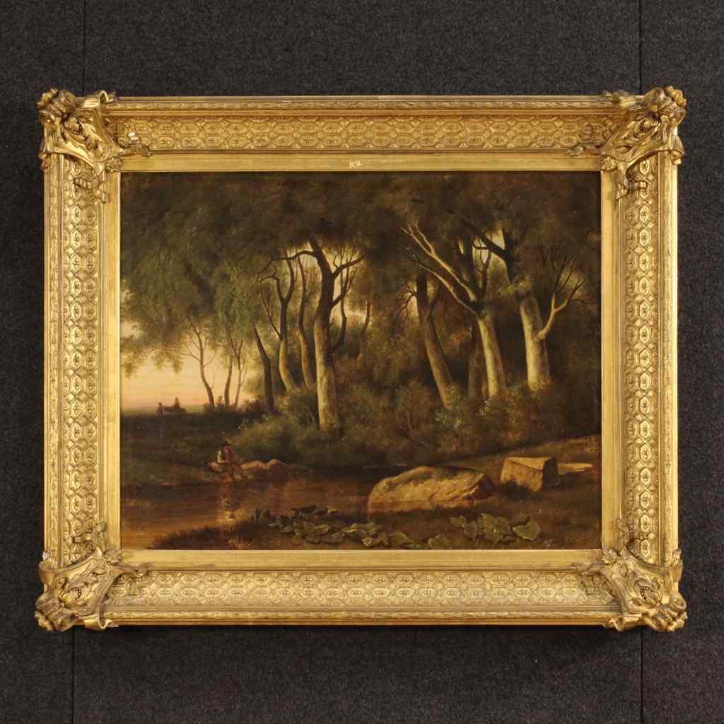 Dipinto francese paesaggio boschivo del XIX secolo