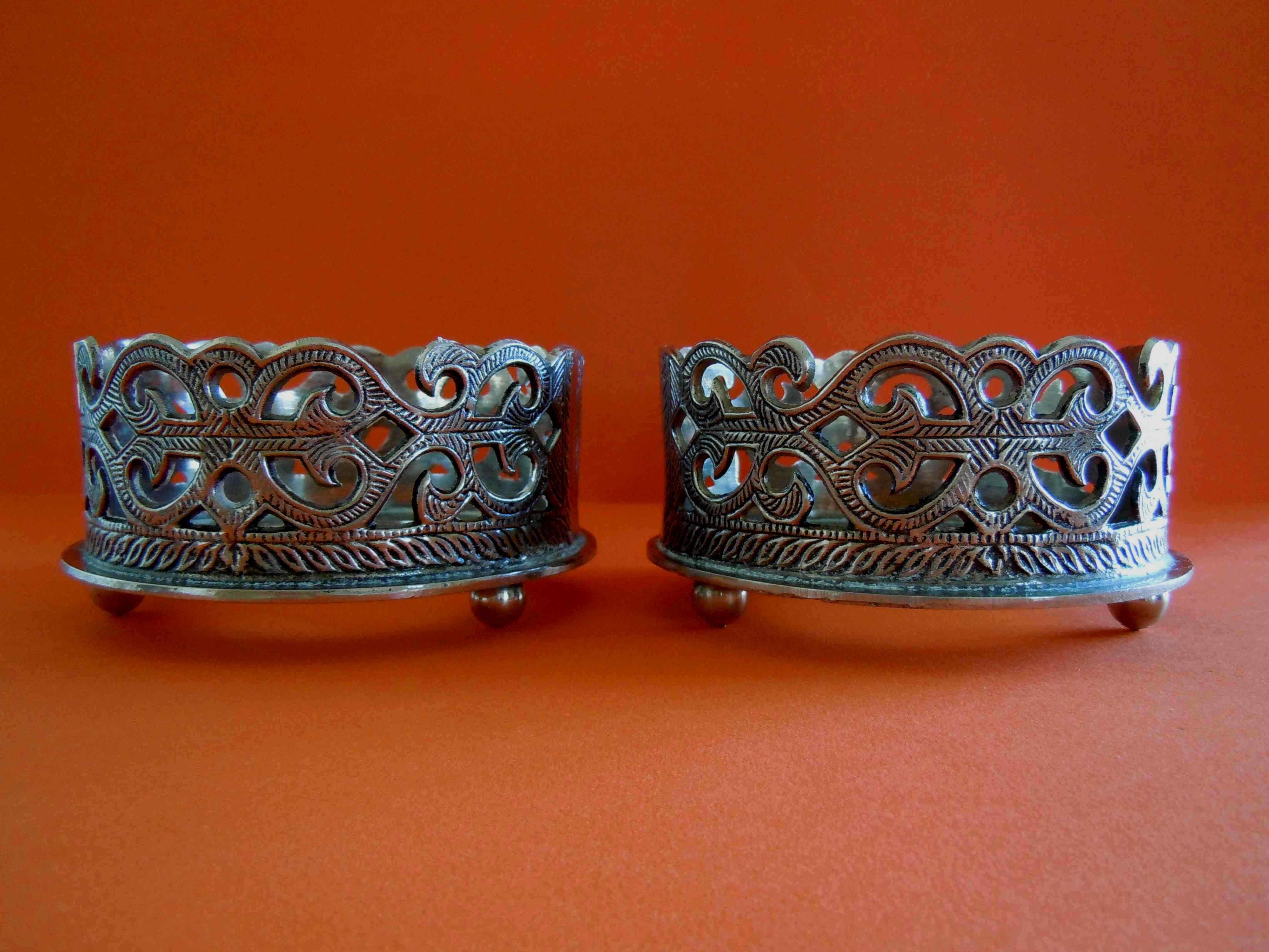 portabottiglie in metallo Coppia di argento Vittoriano