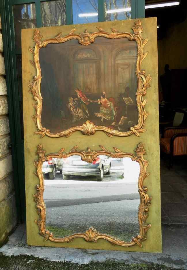 Specchiera con dipinto antico dell'800
