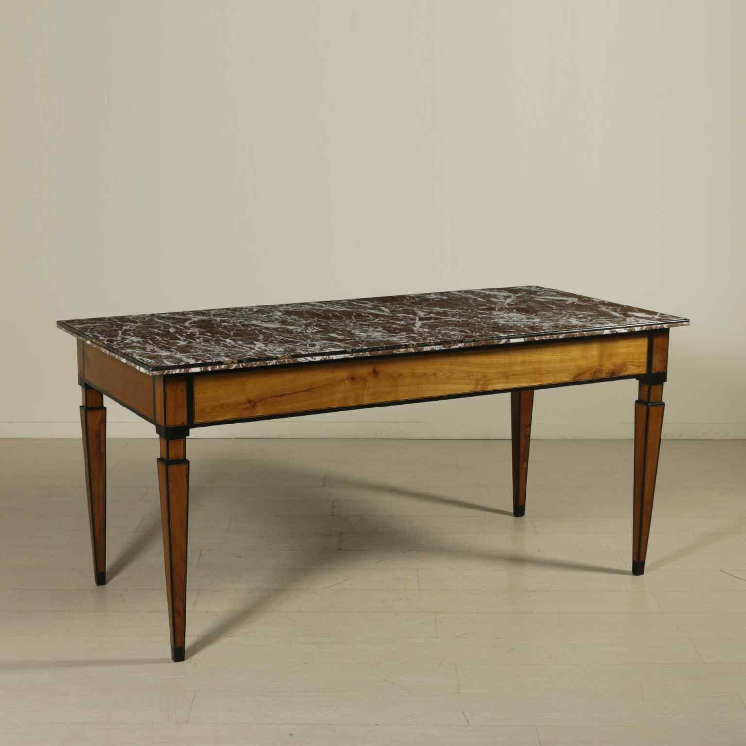 Tavolo neoclassico lastronato ebano