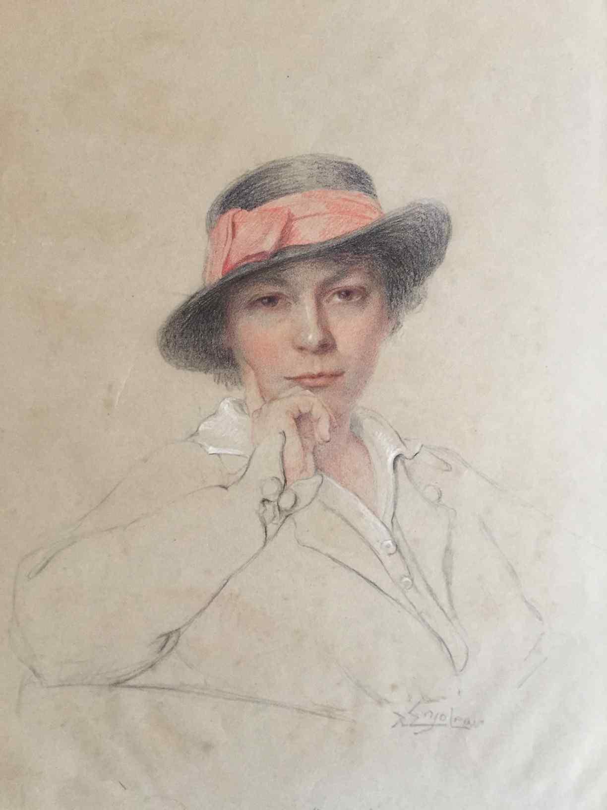 Disegno di donna di Delphin Enjolras (1865 – 1945)