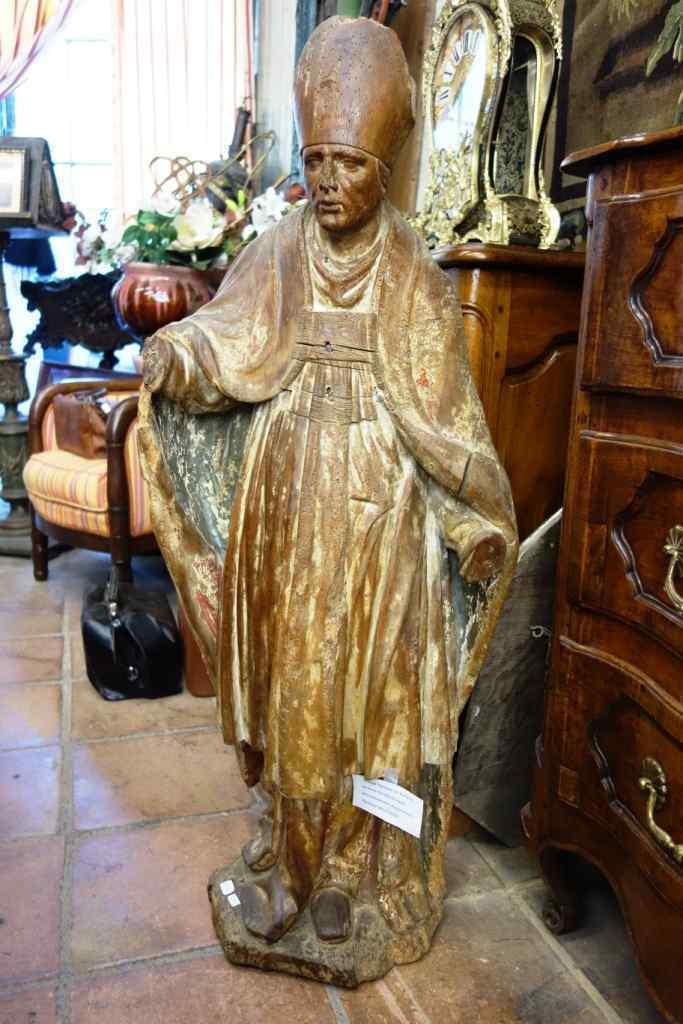 Grande statua raffigurante un vescovo XVIII legno