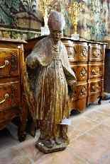 Grande statua raffigurante un vescovo XVIII legno-4