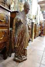 Grande statua raffigurante un vescovo XVIII legno-2
